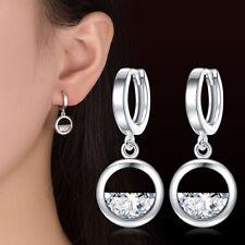 925 plata esterlina La mitad de la joyería circón gota cuelgan pendientes Mujeres Cumpleaños