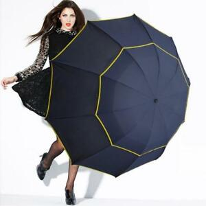 Large Umbrella Sun Rain Windproof Unisex Double Layer 3 Folding Super Big Size