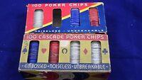 Vintage Cascade 100 Count Poker Chips  MADE IN USA + BONUS!