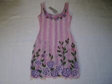 NWT MADE IN ITALY PALACE PINK MULTI SHEER BEADED FLORAL SLEEVELESS MINI DRESS M