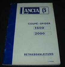 Betriebsanleitung Handbuch Lancia Beta Coupe Spider 1600 2000 August 1977