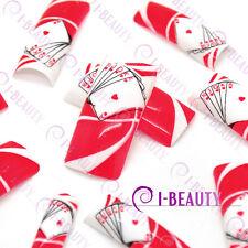 50psc Acrylic False French Nail Art Full Tips IBN1-0007 Red Base White Poker
