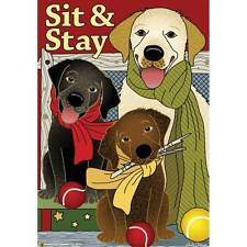 Jeremiah Junction Garden House Flag Sit & Stay Labs Black Brown Yellow Dog