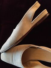 Rare Oatmeal Gucci Suede Slingback Flat Shoes Vintage Authentic Collectible Htf