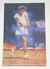 "CHRIS EVERT TENNIS ART PRINT LIMITED EDITION LITHOGRAPH 12"" X 17.5"" OUT OF PRINT"