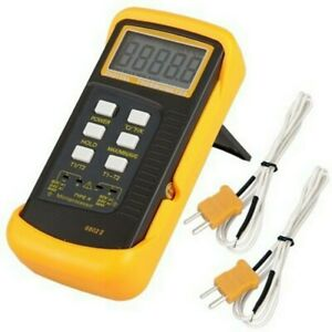2K-Type Battery Dual Channel Digital Thermocouple Thermometer Sensor Probe Tool