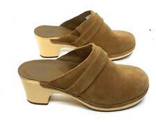 "Crocs Sarah Clogs Womens size 6 Brown Suede 2-1/2"" Heel Comfort Mules"
