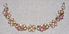 VINTAGE GORGEOUS GOLD TONE PINK AND CLEAR COLOR CRYSTAL FLOWERS BRACELET