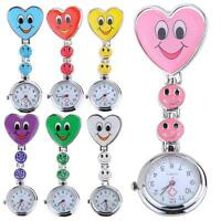 Nurse Clip-on Fob Brooch Pendant Hanging Fobwatch Smile Face Pocket Watch XL