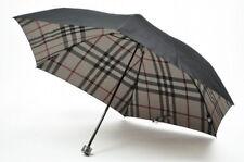 Burberry Folding Umbrella Black Nova Check Plaid Mens New