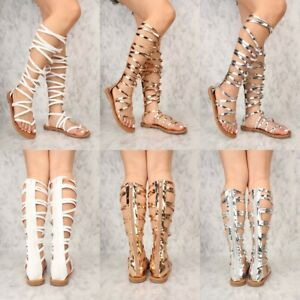 New Fashion Strappy Open toe Gladiator Mid Calf Knee High Sandals Flat Size G35