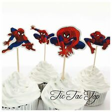 🕷12x Spiderman CUPCAKE TOPPER Pick. Party Supplies Lolly Loot Bag Decoration