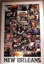 NEW ORLEANS 1970-Grande vero vintage TRAVEL poster-USA-Collage-Litografia