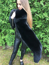 Double Sided Black Fox Fur Stole King Size Boa  ~70 inch. Two Full Pelts Collar