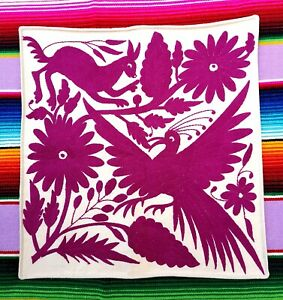 Authentic Large Mexican Otomi Tenango Hand  Embroidered Cushion Purple
