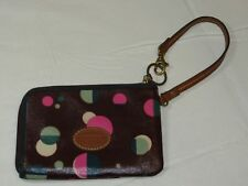 Fossil Wristlet zip around wallet card id coin Wine with Dots Pre-owned *^