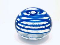Vintage ANTON INTAGLIO LG  Controlled Bubble Blue swirl  Glass Paperweight