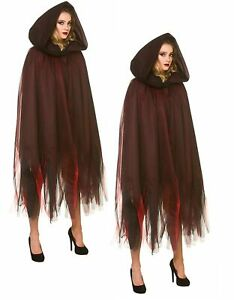 Deluxe Red Hooded Cape Layered Cloak Fancy Dress Halloween Witch Costume