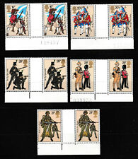 Historic Military Uniforms mnh set 5 gutter pairs 1983 Great Britain #1022-6