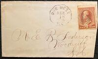 1886 *REVEREND E. B. ANDERSON* DUE WEST, S. C. COVER+SCOTT# 210+ERROR!  NOTABLE!