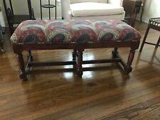 """Vintage Paisley upholstered wood frame bench 48"""" wide"""