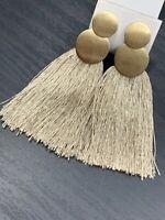 """Vintage Tan Silk Tassel Pierced Earrings Gold Drop Dangle Gold Tone 3.5"""""""