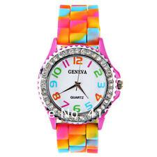 Women Geneva Rainbow Crystal Rhinestone Watch Silicone Jelly Link Band Watch