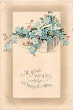 Basket Filled With Lovely Forget-Me-Nots on 1911 Birthday Postcard