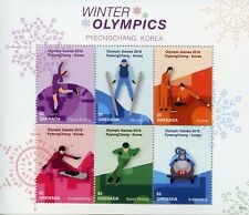 Grenada 2018 MNH Winter Olympics PyeongChang 6v M/S Curling Speed Skating Stamps
