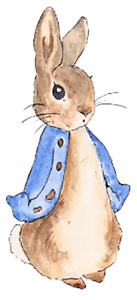 """Pack of 2 Peter Rabbit vinyl decals stickers 6"""" Peel and stick Top Quality"""
