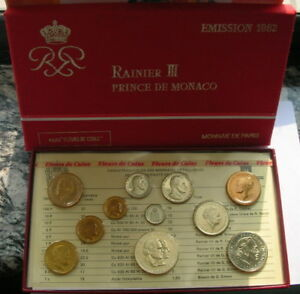Monaco 1982 Mint Set of 11 Coins,UNC,With Silver Coin