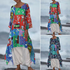 ZANZEA 8-24 Women Casual Long Midi Kaftan Vintage Bohemian Printed Floral Dress