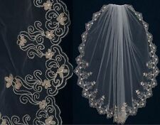 Gold & Silver Embroidered Scallop Edge Bridal Veil Ivory