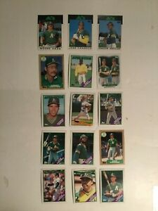 Jose Canseco (RC), Mark McGwire, Dave Stewart, Oakland A's Topps sports cards