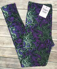PLUS Size Purple Swirl Smoke Print Leggings Ornate Abstract Black Purple Curvy