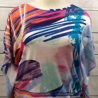 Christopher & Banks Women's Floral Polyester Dolman Sleeve Tops Sz L-XL  A2300