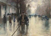 Lesser Ury Under The Linden Trees In The Rain Giclee Canvas Print Poster