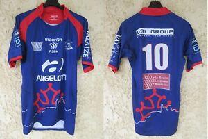 Maillot rugby ASBH BEZIERS porté par SUCHIER n°10 Macron PRO D2 2014 2015 XL