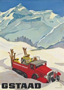 Vintage Ski Posters GSTAAD, Switzerland, 1934, Art Deco Travel Print