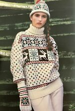 FX5 Knitting Pattern - Lady's Aran Christmas Reindeer Jumper , Hat & Gloves