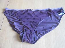 EX M & S burgundy flock polka dot print key hole back bikini knickers size 12