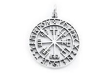 Großer Wikinger Kompass Vegvísir Anhänger Silber Gothic Schmuck - NEU
