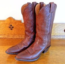 Nokona Womens Leather Cowboy Western Boots Brown size 8.5 Narrow Made in USA