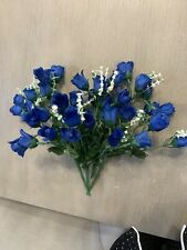 "Blue Rose Flower Stems~Set of 3~ ""12 heads each"" Silk/Artificial~12"" T"