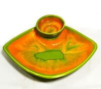 Vintage California pottery. MCM. Platter & dip bowl. Bright chartreuse & orange