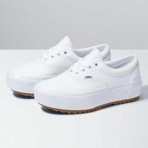 Vans Era Stacked Leather True White Platform Women Size 9.5 VN0A4BTOOER