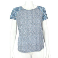 Lucky Brand Whimsical Blue Floral High-low Short Sleeve Top Shirt sz Small /1866