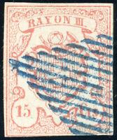 SCHWEIZ 1852, MiNr. 11, Rayon III, sauber gestempelt, Befund Marchand, Mi. 950,-
