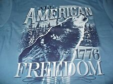 Wolf Men's SK Hunting American Freedom 1776 Blue T-Shirt Size Medium M