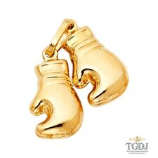 14K SOLID YELLOW GOLD Double Boxing Glove Pendant - Polished Necklace Charm
